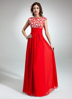 A-Linie/Princess-Linie U-Ausschnitt Bodenlang Chiffon Festliche Kleid mit Rüschen Spitze (020032261)