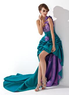 A-Linie/Princess-Linie One-Shoulder-Träger Asymmetrisch Taft Abiballkleid mit Rüschen Perlen verziert Blumen (018021088)