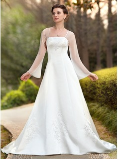 A-Line/Princess Square Neckline Chapel Train Chiffon Satin Wedding Dress With Embroidery (002011989)