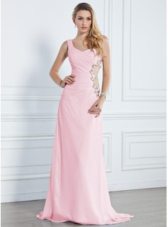 A-Line/Princess One-Shoulder Sweep Train Chiffon Evening Dress With Ruffle Beading (017013090)
