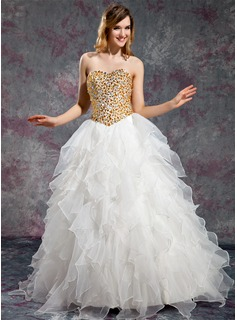 Ball-Gown Sweetheart Floor-Length Organza Prom Dress With Beading Cascading Ruffles (018019131)
