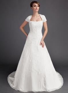 A-Line/Princess Sweetheart Chapel Train Chiffon Wedding Dress With Embroidery Beading (002015904)
