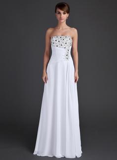 A-Linie/Princess-Linie Trägerlos Bodenlang Chiffon Abendkleid mit Rüschen Perlen verziert Pailletten (017015609)
