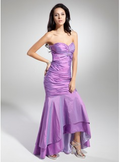 Trumpet/Mermaid Sweetheart Asymmetrical Taffeta Prom Dresses With Ruffle Beading (018014967)