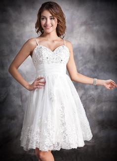 Forme Princesse Bustier en coeur Mi-longues Organza Satiné Robe de mariée avec Plissé Dentelle Emperler (002004479)