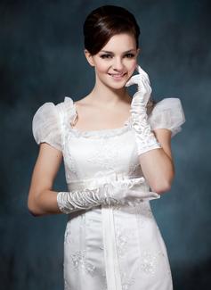 Satén elástico Codo Largo Guantes de novia (014020476)