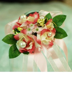 Lovely Free-Form Satin/Cotton Wrist Corsage/Pin-on Corsage (124032011)