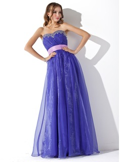 Robe de Bal de Promo Ligne-A/Princesse Cur Longeur au sol Organza Robe de Bal de Promo avec Ondul Bretelle Brod (018005050)