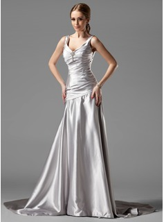 A-Line/Princess V-neck Court Train Charmeuse Evening Dress With Ruffle Crystal Brooch (017004173)