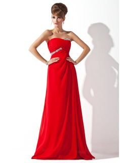A-Line/Princess Sweetheart Floor-Length Chiffon Evening Dress With Ruffle Beading (017013788)