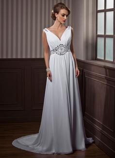 A-Linie/Princess-Linie V-Ausschnitt Hof-schleppe Chiffon Brautkleid mit Rüschen Perlen verziert (002011388)