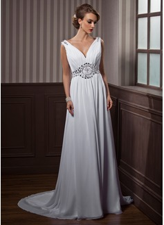 A-Line/Princess V-neck Court Train Chiffon Wedding Dress With Ruffle Beading (002011388)