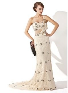 A-Linie/Princess-Linie Eine Schulter Sweep/Pinsel zug Spitze Kleid für die Brautmutter mit Rüschen Perlstickerei Pailletten (008006250)