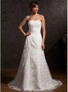 A-Line/Princess Sweetheart Court Train Satin Tulle Wedding Dress With Ruffle Lace Beading (002015167)