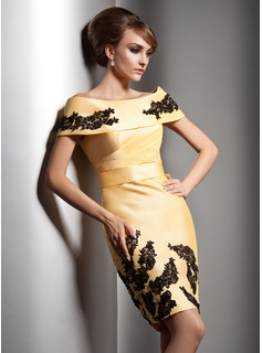 Sheath/Column Off-the-Shoulder Knee-Length Taffeta Evening Dress With Lace Beading Sequins (017005591)
