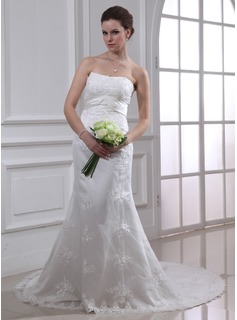 Sheath/Column Sweetheart Chapel Train Satin Lace Wedding Dresses With Lace Sashes Beadwork (00200018