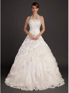 Ball-Gown Halter Chapel Train Taffeta Wedding Dress With Lace Beading (002015494)
