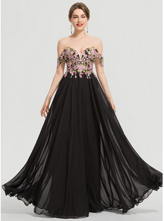 A-Linie Off-the-Schulter Bodenlang Chiffon Ballkleid (018192347)