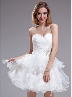 A-Line/Princess Sweetheart Short/Mini Organza Homecoming Dress With Beading Appliques Lace Cascading Ruffles (022025387)