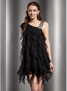 Sheath/Column V-neck Short/Mini Chiffon Cocktail Dress With Beading Cascading Ruffles (016013764)