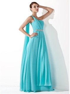 Cheap Prom Dresses A-Line/Princess One-Shoulder Floor-Length Chiffon Prom Dress With Ruffle Beading (018013099)