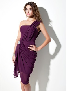 Sheath One-Shoulder Asymmetrical Chiffon Cocktail Dress With Ruffle Beading (016021245)