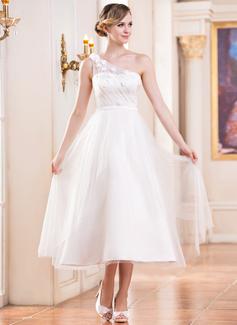 A-Linie/Princess-Linie Eine Schulter Wadenlang Tüll Brautkleid mit Rüschen Perlstickerei Blumen Pailletten (002047393)