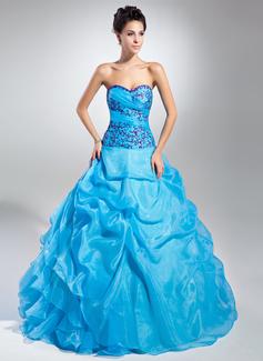 Duchesse-Linie Schatz Bodenlang Organza Quinceañera Kleid (Kleid für die Geburtstagsfeier) mit Bestickt Rüschen Perlstickerei Pailletten (021015109)