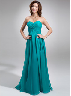 Chiffon Floor-length Empire Bridesmaid Dress with Sweetheart Neckline