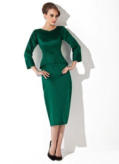 Etui-Linie U-Ausschnitt Wadenlang Satin Kleid für die Brautmutter (008006024)