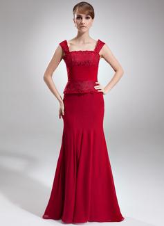 Trompete/Meerjungfrau-Linie Rechteckiger Ausschnitt Bodenlang Chiffon Spitze Kleid für die Brautmutter mit Rüschen Perlen verziert (008006012)