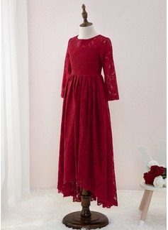 Corte A Asimétrico Vestidos de Niña Florista - Encaje Manga larga Escote redondo (010195341)