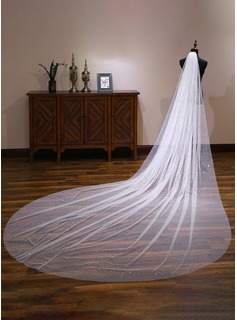 One-tier Cut Edge Cathedral Bridal Veils With Lace (006190595)