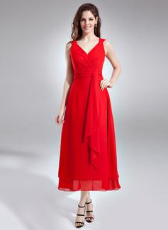 A-linjainen/Prinsessa V-kaula-aukko Nilkka-pituus Sifonki Morsiusneitojen mekko jossa Laskeutuva röyhelö (007004232)