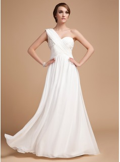 A-Line/Princess One-Shoulder Floor-Length Chiffon Holiday Dress With Ruffle Beading (020014487)