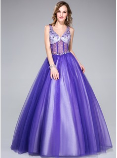 Ball-Gown V-neck Floor-Length Tulle Charmeuse Prom Dress With Beading (018044972)