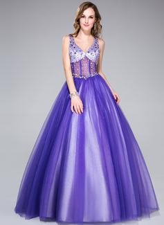 Duchesse-Linie V-Ausschnitt Bodenlang Tüll Quinceañera Kleid (Kleid für die Geburtstagsfeier) mit Perlen verziert (018044972)