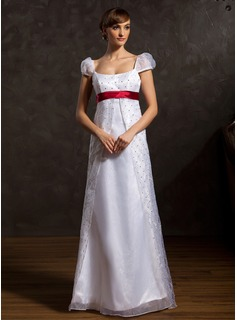A-Line/Princess Scoop Neck Floor-Length Organza Charmeuse Wedding Dress With Sash Beading (002015046)