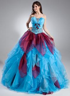 Duchesse-Linie Wellenkante Bodenlang Organza Quinceañera Kleid (Kleid für die Geburtstagsfeier) mit Perlen verziert Blumen Gestufte Rüschen (021015938)