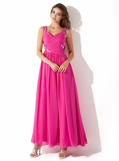 A-Line/Princess Sweetheart Ankle-Length Chiffon Prom Dresses With Ruffle Beading (018020699)