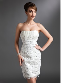 Sheath/Column Sweetheart Knee-Length Lace Wedding Dress With Ruffle Beading (002011965)