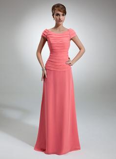 A-Linie/Princess-Linie Off-the-Schulter Bodenlang Chiffon Kleid für die Brautmutter mit Rüschen Perlstickerei (008006053)