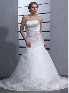 A-Line/Princess Strapless Chapel Train Organza Satin Wedding Dress With Ruffle Lace Beading (002000318)