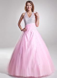 A-Linie/Princess-Linie Träger Bodenlang Tüll Quinceañera Kleid (Kleid für die Geburtstagsfeier) mit Rüschen Perlen verziert Pailletten (021004662)