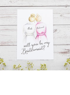 Bridesmaid Gifts - Classic Elegant Paper Wedding Day Card (256176225)