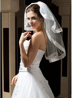 Two-tier Elbow Bridal Veils With Ribbon Edge (006034316)