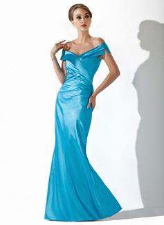 Trompete/Meerjungfrau-Linie Schulterfrei Bodenlang Charmeuse Kleid für die Brautmutter mit Rüschen (008005637)