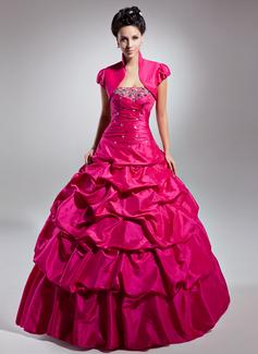 Duchesse-Linie Trägerlos Bodenlang Taft Quinceañera Kleid (Kleid für die Geburtstagsfeier) mit Rüschen Perlen verziert (021015133)