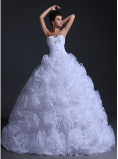 Ball-Gown Sweetheart Floor-Length Organza Wedding Dress With Ruffle Beading (002017332)