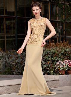 Trompete/Meerjungfrau-Linie U-Ausschnitt Sweep/Pinsel zug Chiffon Kleid für die Brautmutter mit Lace Perlstickerei Pailletten (008018741)